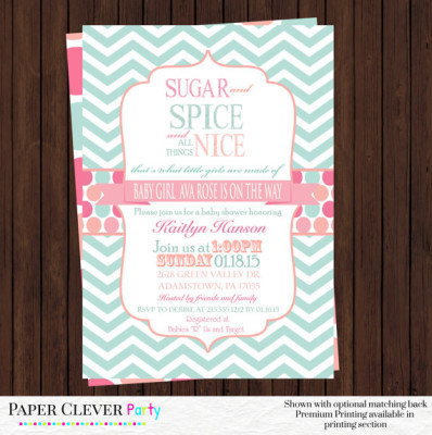 sugar and spice baby shower ideas - baby shower ideas - themes - games, Baby shower invitations