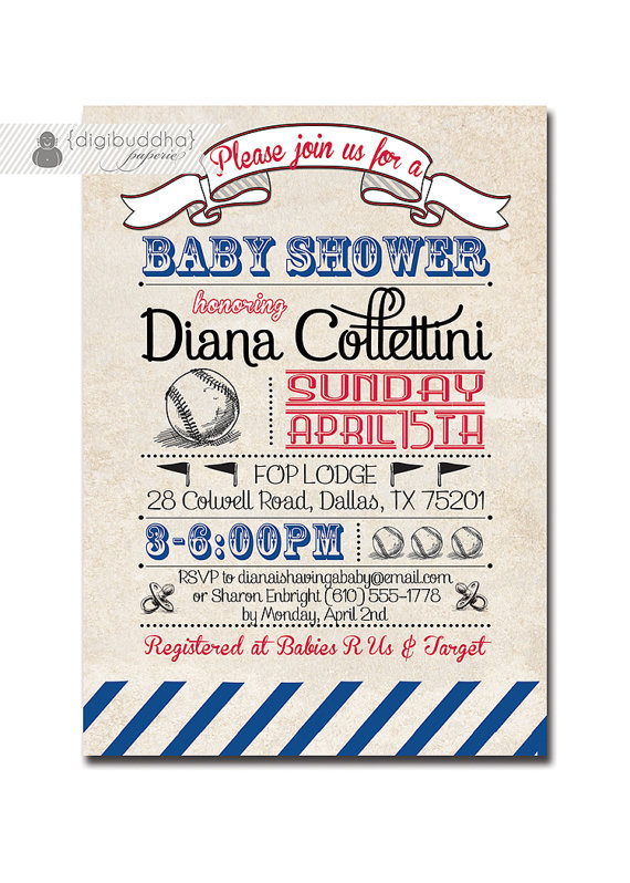 baseball baby shower invitation vintage retro boy girl baby shower red blue available free priority shipping or diy printable