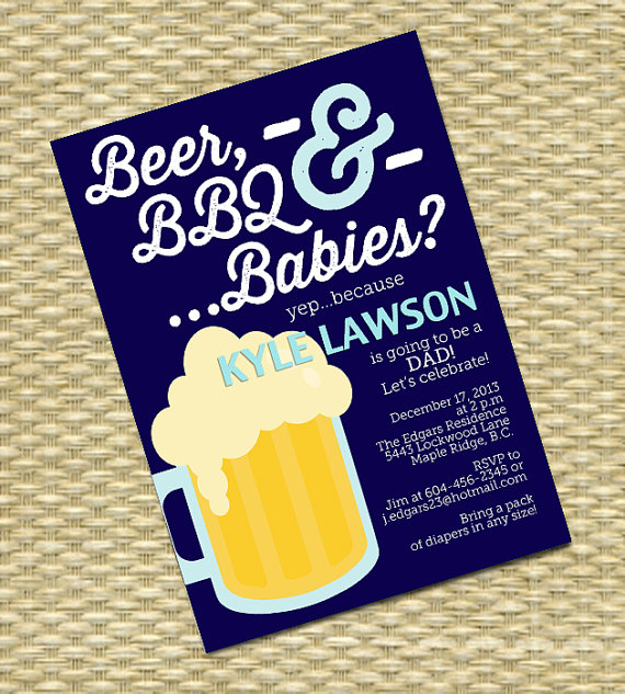 Beer and Diaper Party Invitation Man Shower Beer BBQ and Babies