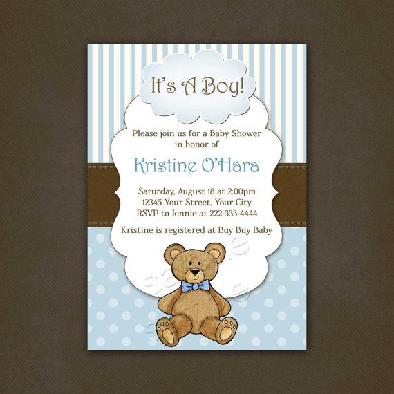 Boy Teddy Bear Baby Shower Invitation Printable
