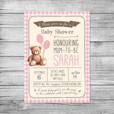 Gingham Teddy Bears Picnic Baby Shower Invitations