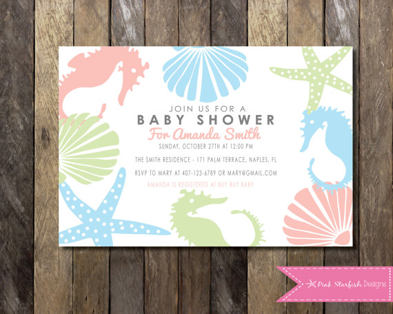 under the sea baby shower invitation blue pink green custom order baby