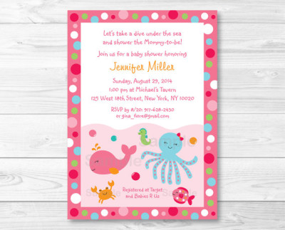 Pink Under the Sea Baby Shower Invitation
