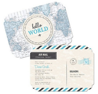 Baby welcome to the world baby shower ideas baby shower ideas welcome to the world invitation precious cargo blue baby shower invitations filmwisefo Choice Image
