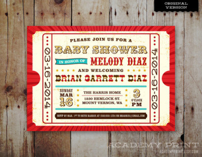Printable Baby Shower Invitation Circus Carnival Theme