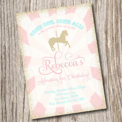 Circus carnival baby shower theme ideas baby shower ideas invitation baby shower vintage pony party carousel horse shabby chic cotton candy big filmwisefo