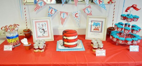 thing 1 thing 2 twin baby shower-dessert-buffet