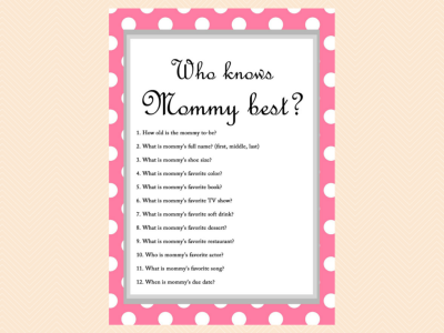 Free Baby Shower Game - Who knows Mommy Best