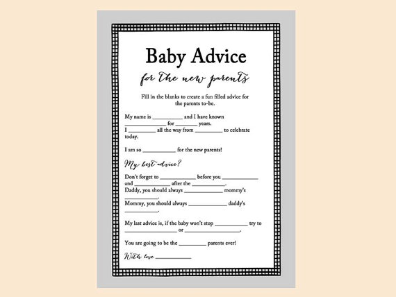 Baby Advice Cards For New Parents, Baby Mad Lib Game, Advice For The Baby,  Gray, Grey Baby Shower Games Printables, Fun Baby Shower TLC45