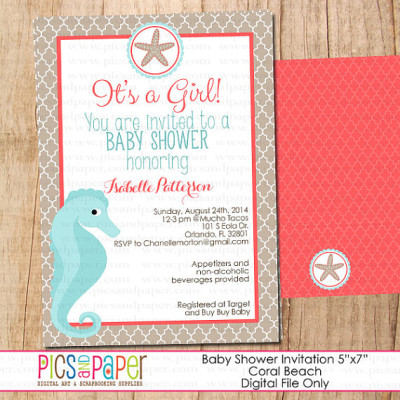 beach baby shower ideas - baby shower ideas - themes - games, Baby shower invitations