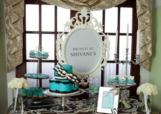 Breakfast at Tiffany's Baby Shower brunch dessert table