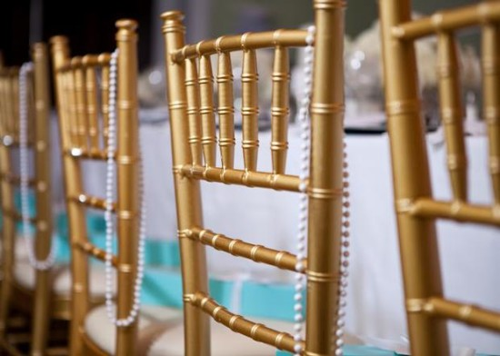 Breakfast at Tiffany's Baby Shower chairs and pearls