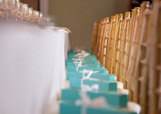 Breakfast at Tiffany's Baby Shower favors in tiffany boxes