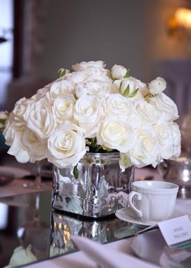 Breakfast at Tiffany's Baby Shower floral centerpiece