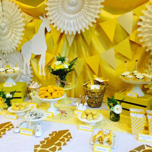 Elegant Bright Yellow Giraffe Baby Shower Main Table