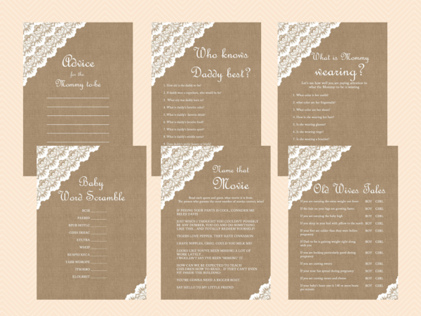 Burlap Lace Rustic Baby Shower Games Printable Baby Shower Ideas
