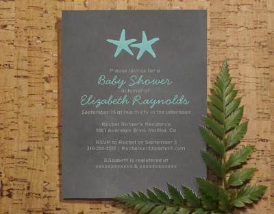 country starfish beach baby invitations
