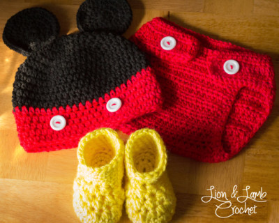 Crochet Mickey Mouse Style Photo Prop Set