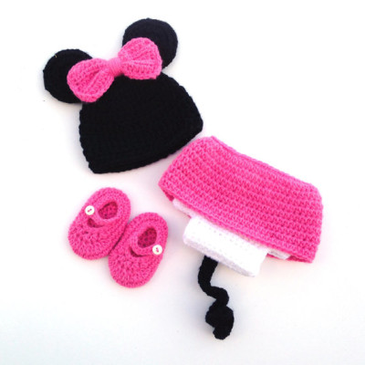 handmade crochet newborn baby minnie mouse photo prop costume