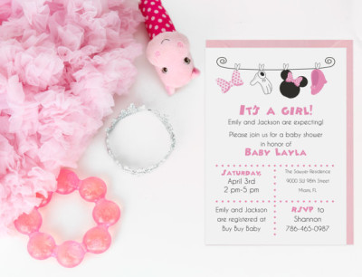 Minnie Mouse Baby Shower Invitation Digital File