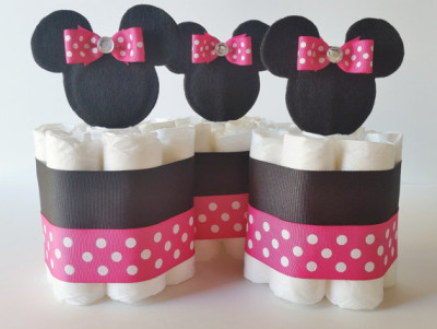 Minnie Mouse Diaper Cake Centerpieces, Minnie Mini Diaper Cakes, Minnie  Baby Shower Decorations,