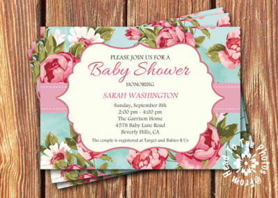 Shabby Chic Baby Shower Invitations Pink Shabby Chic Baby Shower Invitations
