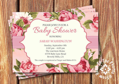 Shabby Chic Baby Shower Invitations Pink ...