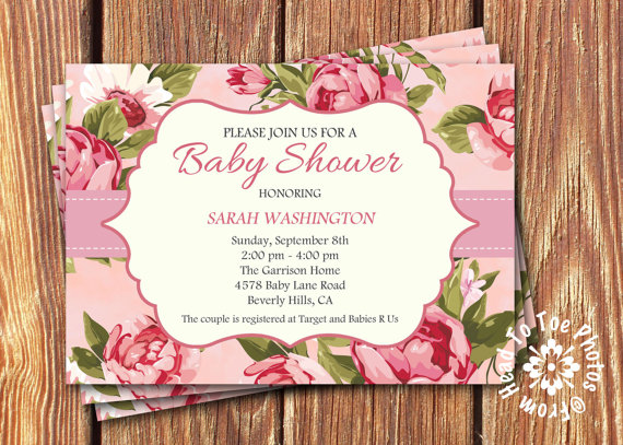 shabby chic baby shower invitations pink baby shower ideas themes