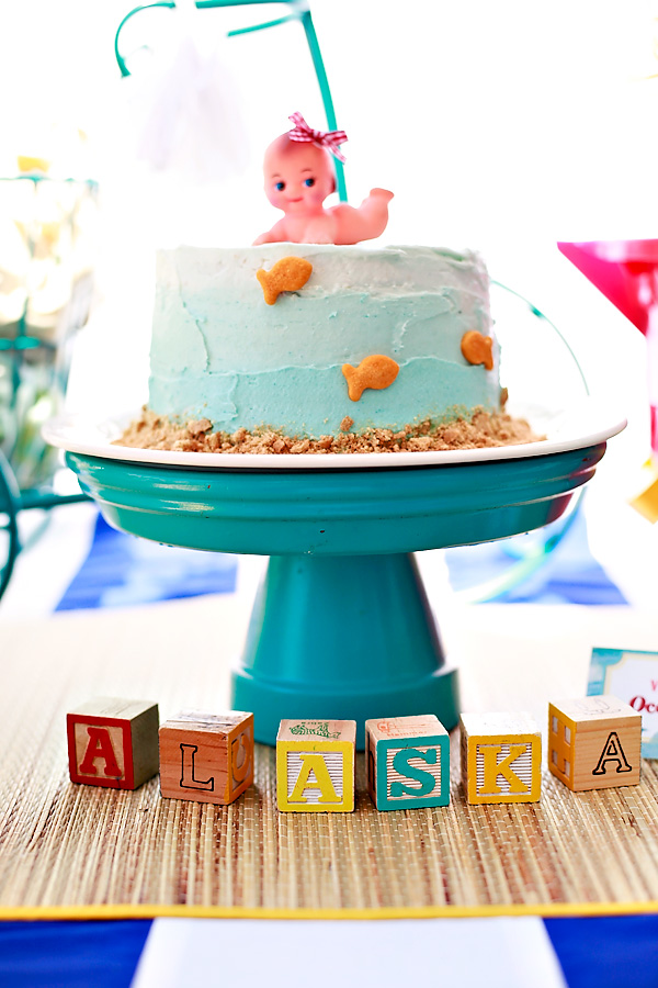 vintage beach theme baby shower cake under the sea