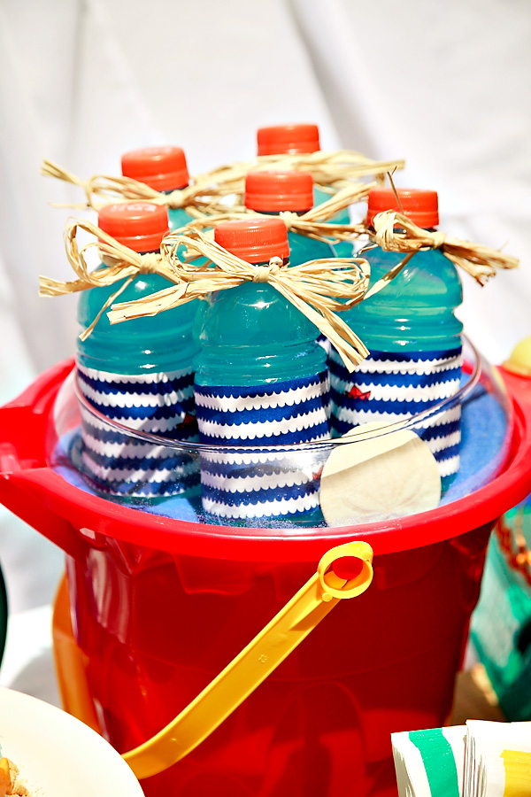 Vintage Beach Theme Baby Shower Water Bottles