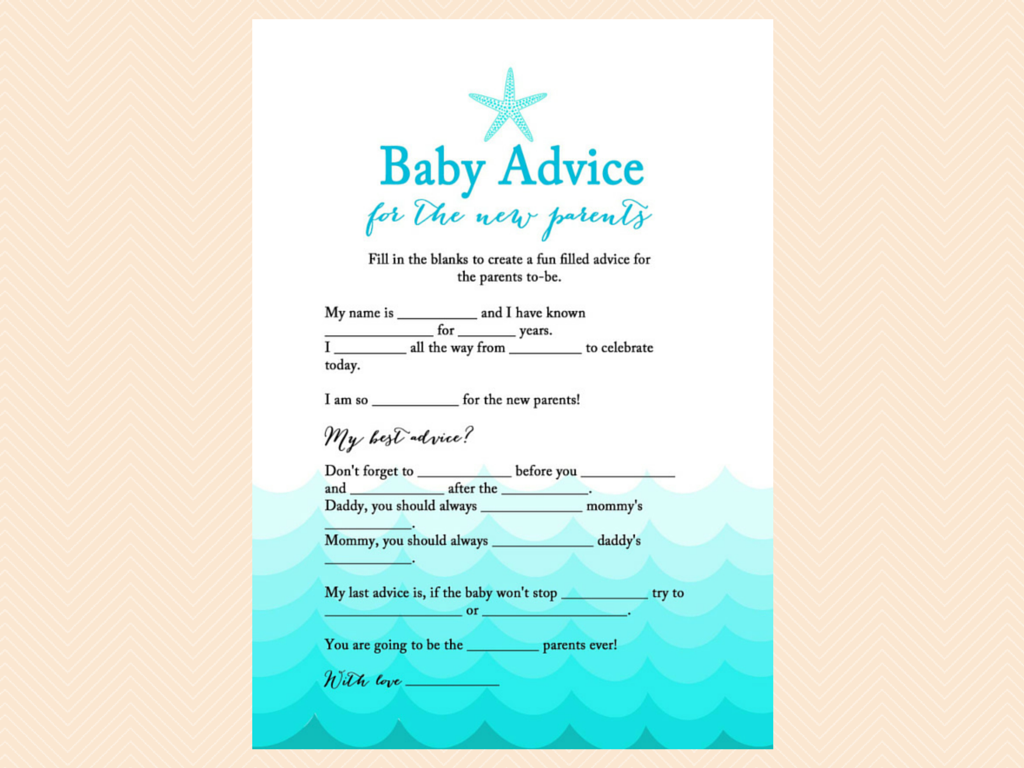 baby maf libs advice for new parents beach baby shower baby shower