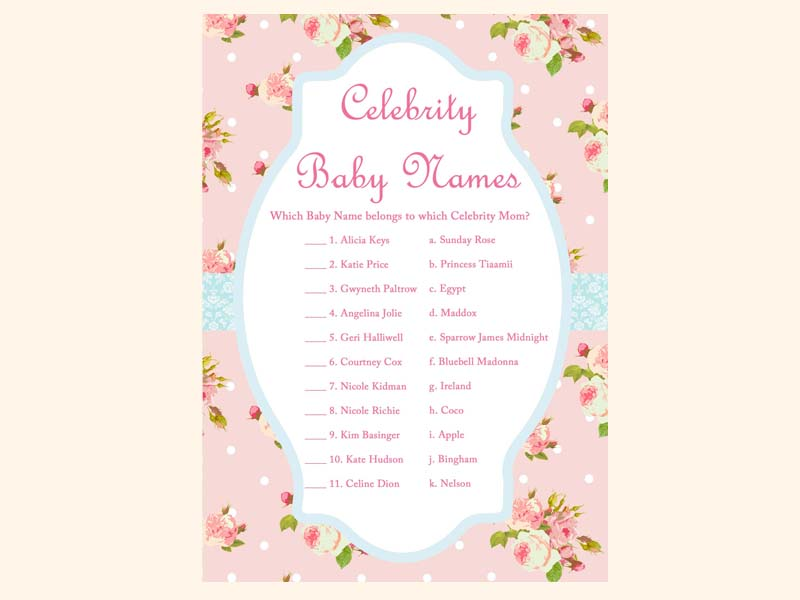 celebrity baby name shabby chic floral pink baby shower games pack