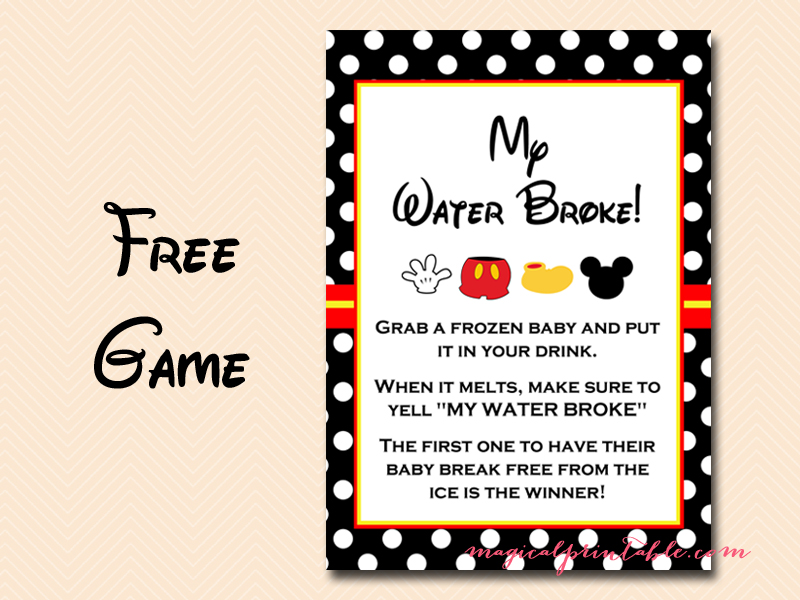 free mickey mouse baby shower games instant download my water broke