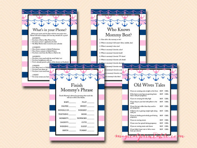 Charming Girl Nautical Baby Shower Games, Pink Nautical Baby Shower Game Printables