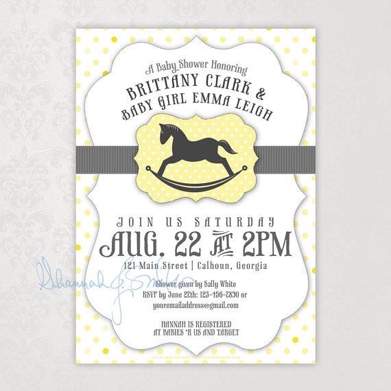 Neutral rocking horse baby shower invitation yellow gray polka dot neutral rocking horse baby shower invitation yellow gray polka dot print your own filmwisefo
