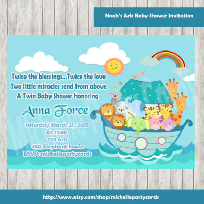 noah 39 s ark baby shower invitation noah 39 s ark birthday party