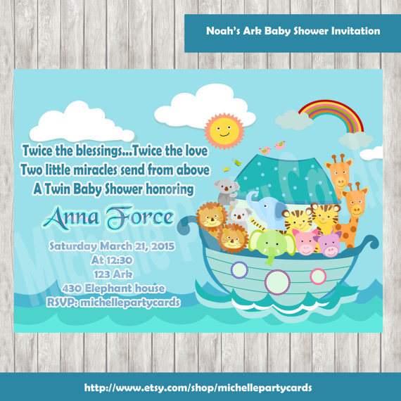 noah 39 s ark baby shower invitation noah 39 s ark birthday party baby