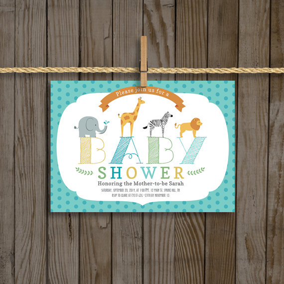zoo animals baby shower invitation for boy 5 7 custom digtial