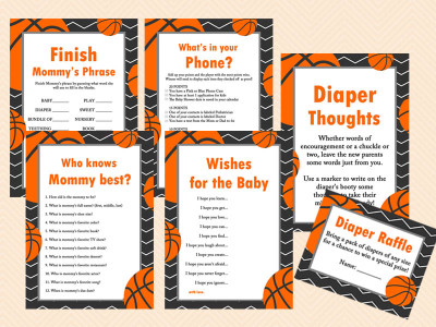 ... Basketball Baby Shower Game Pack, Sports Baby Shower Game Printables,  Instant Download Bs55
