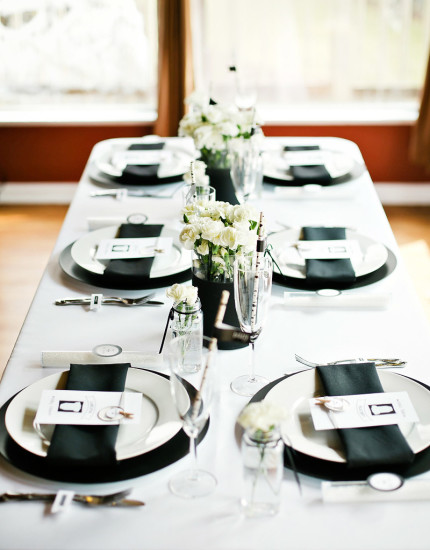 ... Black And White Baby Shower Table Setting Ideas ...