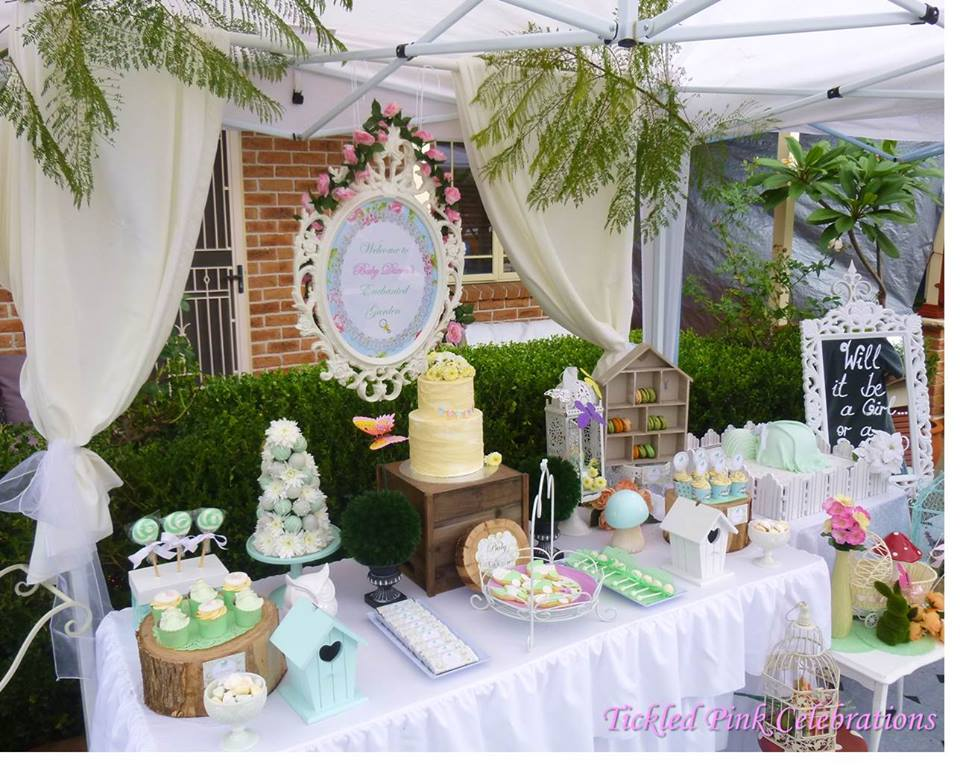 enchanted garden baby shower dessert table