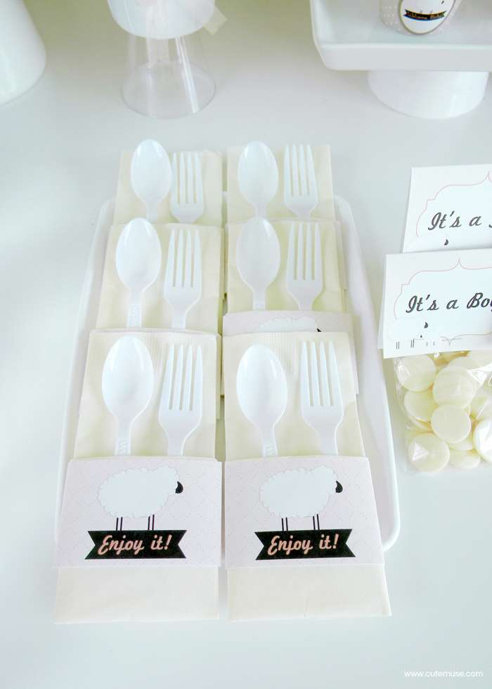 peach little lamb baby shower cutlery