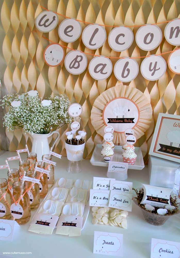 peach little lamb baby shower dessert table