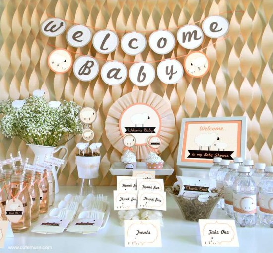 peach little lamb baby shower ideas