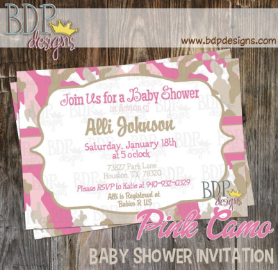 Perfect Pink Camo Baby Shower Invitation