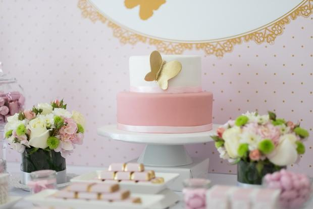 Pink And Gold Butterfly Baby Shower Cake