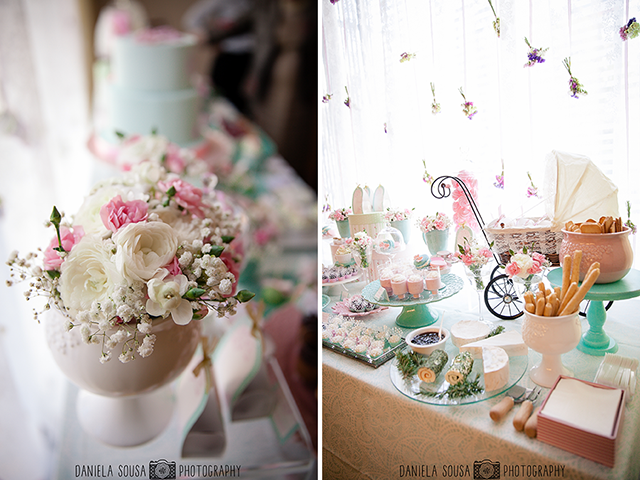 vintage pastel baby christening ideas dessert table and baby stroller