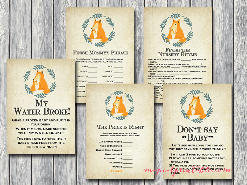 fox baby shower game printables, tlc94, autumn baby shower games ...