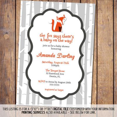 Fox Baby Shower Invitations