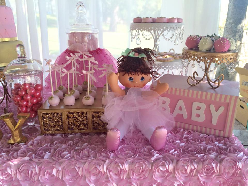 ... Tutu And Tiaras Pink And Gold Baby Shower Decorations And Sweets ...